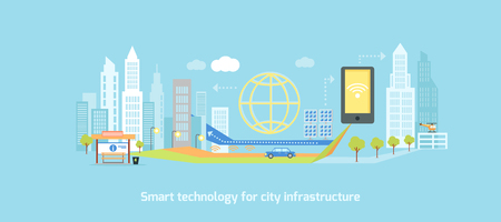 economy: Smart technology in infrastructure of the city. Icon and network system, communication innovation town, connection and future, control information, internet illustration