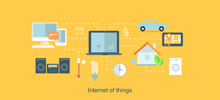 wireless internet: Internet of things icon flat design.