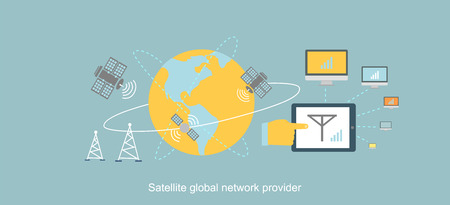 space station: Satellite global network provider icon flat. Internet communication, computer technology, information digital, signal and connection station, web wireless space illustration