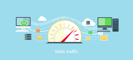 internet speed: Web traffic internet icon flat isolated.  Illustration