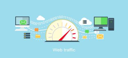 icons of internet: Web traffic internet icon flat isolated.  Illustration