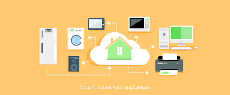 automation: Smart household appliances icon flat design.  Illustration