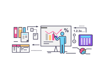 stock predictions: Forecast concept icon flat style. Illustration