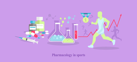 pharmacology: Pharmacology in sport icon flat isolated.
