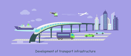 Concept of development of transport infrastructure icon flat.