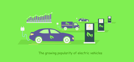 electric vehicles: Icon flat development and growing popularity electric vehicles.