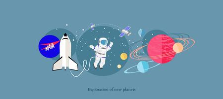Exploratie van nieuwe planeten pictogram flat geïsoleerd.
