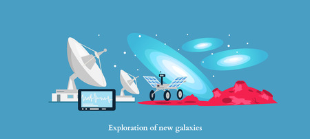 aerospace industry: Exploration new galaxies icon flat isolated. Astronomy and universe, cosmos horizon, mission and aerospace industry, future  technology innovation illustration