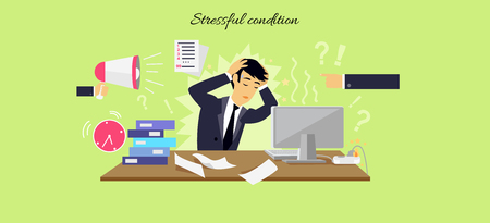 mental work: Stressful condition icon flat isolated.  Illustration