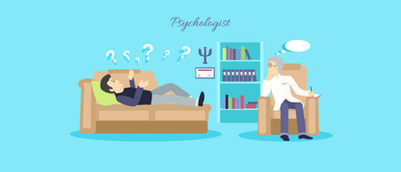 couch: Psychologist concept icon flat isolated.  Illustration