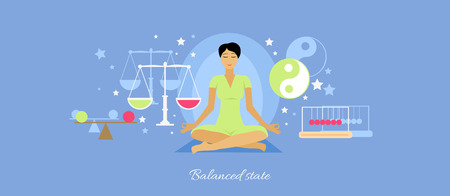 equanimity: Balanced state woman icon flat isolated.   Illustration