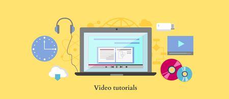 digital content: Video tutorial icon flat design style.