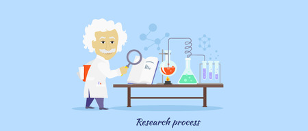 innovation: Research process icon flat isolated. Illustration