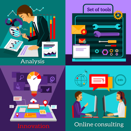 consulting business: Analysis innovation. Online consulting.