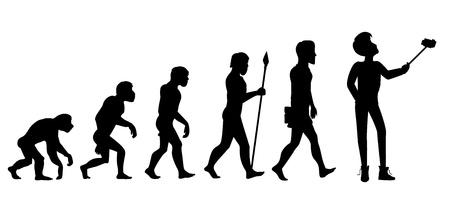 Concepto de evolución humana del mono al hombre. El progreso del desarrollo, el crecimiento de los primates, los antepasados ??y la humanidad, hombre de las cavernas y neanderthal, generación de mamífero. Hombre haciendo selfie con monopie. En blanco y negro