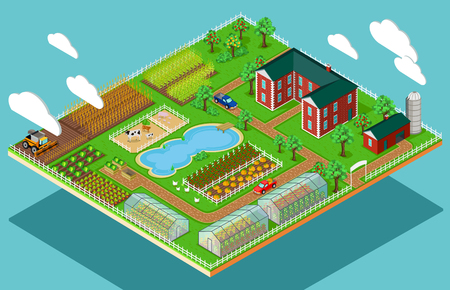 Isométrico 3d icono de la agricultura granja plana.