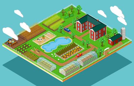 Isometrische 3d pictogram flat boerderij landbouw. Stock Illustratie