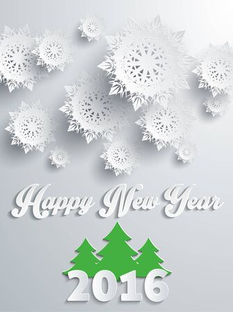 happy new year banner: Happy new year 2016 snowflakes banner with tree. Greeting celebration, holiday annual winter, decor poster, decoration congratulation, postcard event illustration. Silver snowflakes Illustration
