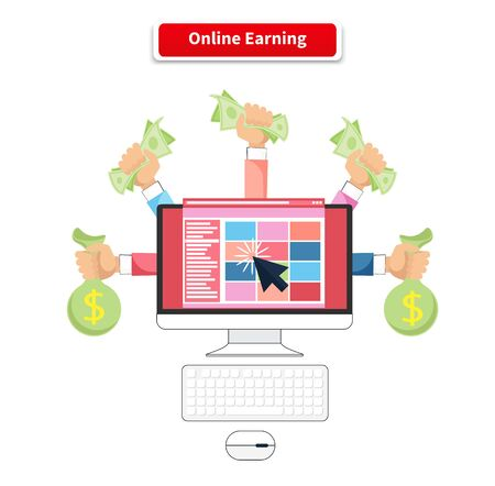 business money: Icon flat style concept online earning.
