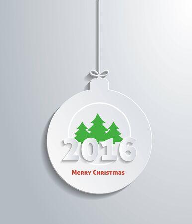greeting season: Ball merry christmas with christmas tree and text 2016. Xmas greeting holiday, celebration winter, happy december, gift box, season and celebrate, festive decorative illustration