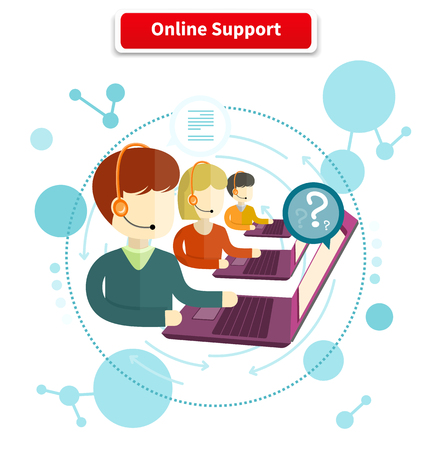 Online support. 24h all the time customer support center via phone mail operator service icons concept. Support, online chat, online help, online, live chat, live support, customer service