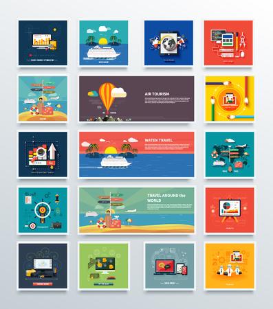 turismo: turismo aereo e acqua e grande concetto di set. intorno al mondo, i social media, web pay per click, ottimizzazione dei motori di ricerca, attività di gestione e anatics, SEO illustrazione Vettoriali