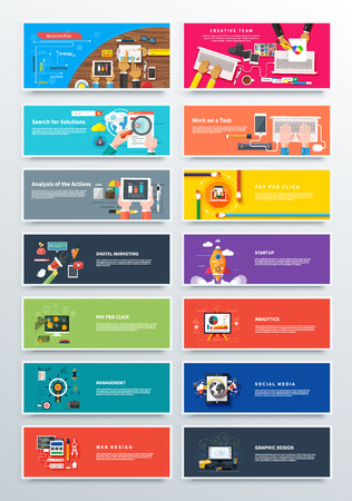 Set concept pay per click, startup and analitics. Media social marketing, web, design, business plan, solution task, analysis and action, pay per click and seo, startup and analitics illustration Vettoriali