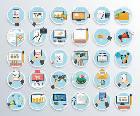 informe: Conjunto de promoción de negocios, las compras por Internet. Searh web, planificar abd tarea solución, SEO análisis, gestión Analitics, internet ilustración desarrollo digital Vectores