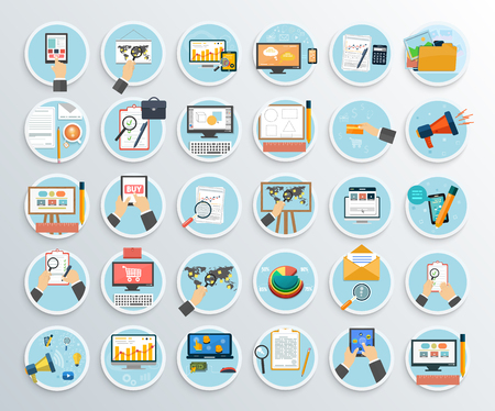 promotion icon: Set of business promotion, internet shopping. Searh web, plan abd solution task, analysis seo, analitics management, internet digital development illustration