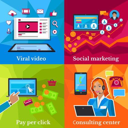 consulting: Social marketing, consulting center concept. Pay per click, viral video, online technology, service communication, support call, consultant internet operator illustration