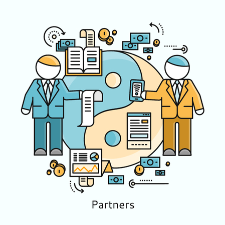 corporate team: Partners icon flat design concept. Business partnership, teamwork and team cooperation, contract deal handshake, collaboration professional, corporate startup growth illustration