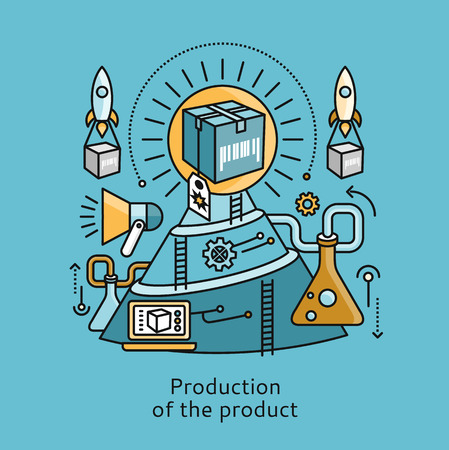 engineering design: Production of product icon flat design concept. Process business, technology development, management service creative, project manufacturing illustration Illustration