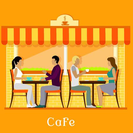 ファサードの顧客と都市のカフェ。・食堂・売店、屋外のインテリア、人、建物の外装、通り市、歩道とコーヒー ショップ、喫茶店、日除けの図