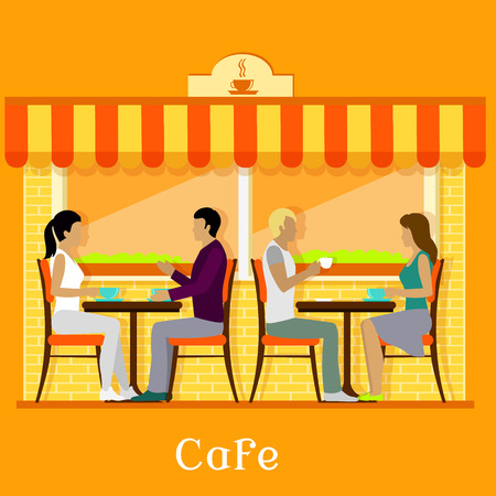 sidewalk cafe: Facade urban cafe with customers. Cafeteria shop, interior outdoor, people and building exterior, street city, sidewalk and coffeeshop, coffeehouse and awning illustration