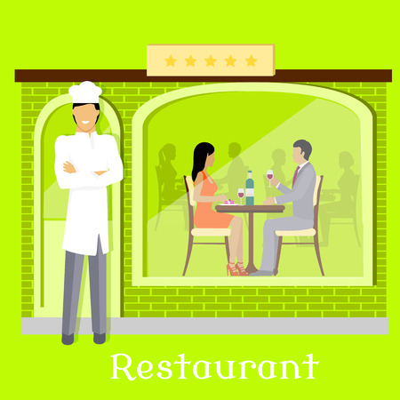 dining: Urban restaurant facade with customers. Restaurant interior, food, restaurant table, restaurant menu, cafe, restaurant icon, dining. People dining in cafeteria. Chef near restaurant