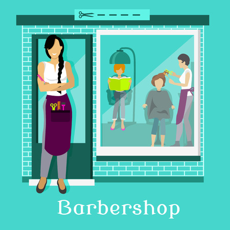 hairstylist: Barbershop facade with customers. Hair salon, hairdresser and haircut, beauty design, exterior window, cut scissor, hairstyle and professional work, hairstylist illustration