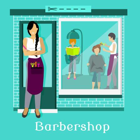 Fachada: fachada de la barbería con los clientes. salón de belleza, peluquería y corte de pelo, diseño de la belleza, ventana al exterior, corte de tijera, el peinado y el trabajo profesional, ilustración peluquero