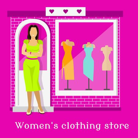 consumerism: Woman clothing urban store design. Dress shopping, shop building, house architecture, facade window, boutique place, business front, showcase and consumerism illustration Illustration