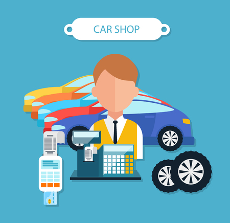 automobile dealership: Car shop concept flat design style. Shopping and buying, showroom and dealership, service auto, automobile transport, buy new, sale and purchase, dealer illustration Illustration