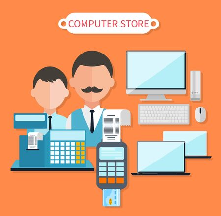 technology market: Modern computer store concept flat design. Electronic shop, tv retail, keyboard and laptop, dealer and cash register, business technology, sale and marketing, market commerce illustration