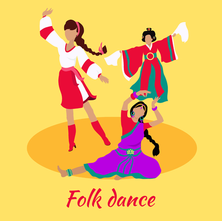 folk dance: Folk dance concept flat design. Indian turkish israeli dancing, body dancer, girl and lifestyle, musical party, people performance, show traditional culture costume illustration