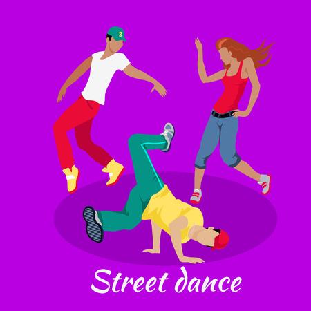 Calle concepto danza diseño plano. Hip hop y break, urbano, el arte y la bailarina, la cultura y el entretenimiento, la moda evento, niña y el hombre moderno ilustración