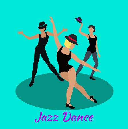 danza moderna: Jazz concepto danza diseño plano. Clase moderna, la música y el arte, bailarín cuerpo, el vestido y el entretenimiento, la moda acontecimiento, estilo de vida del movimiento, fiesta musical, las personas muestran un rendimiento ilustración