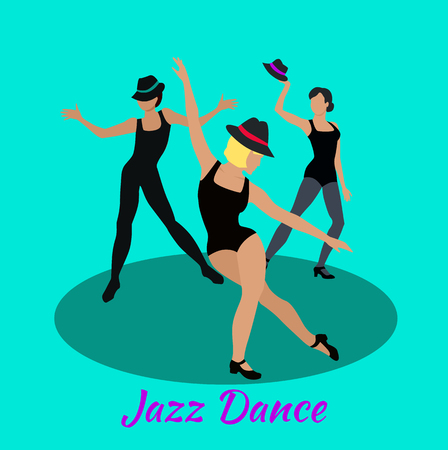 modern dance: Jazz dance concept flat design. Modern class, music and art, body dancer, dress and entertainment, event fashion, lifestyle motion, musical party, people performance show illustration