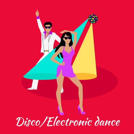 disco dancer: Disco and electronic dance concept flat design. Party and dancer, couple and entertainment, event fashion, music nightlife and popular leisure illustration