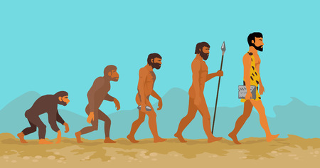self development: Concept of human evolution from ape to man. Man evolution. Development progress, primate growth, ancestor and mankind, caveman and neanderthal, mammal generation illustration. Neanderthal and monkey