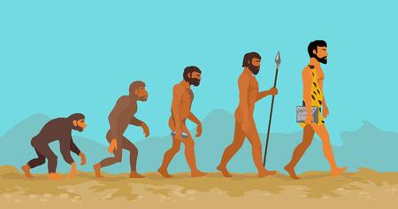 Concetto di evoluzione umana dalla scimmia all'uomo. Evoluzione dell'uomo. Progressi di sviluppo, la crescita dei primati, degli antenati e il genere umano, uomo delle caverne e Neanderthal, generazione mammifero illustrazione. Neanderthal e scimmia