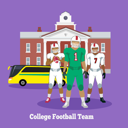 college football: College football team concept flat design. Player american sport, uniform game, competition and athlete, victory and play, winner rugby, helmet and champion illustration