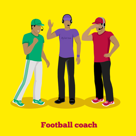 tactic: Football coach concept flat design. American sport, manager team, competition game, strategy play, tactic and plan, male trainer, professional people illustration Illustration