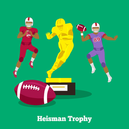 team game: Heisman trophy concept flat design. Football pose, american player, team college, sport uniform, school game, competition and athlete, teamwork and victory illustration